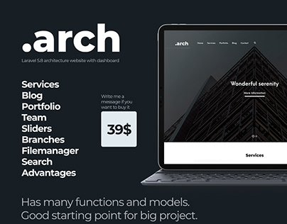 .arch | Architecture website on Laravel 5.8 | 39$