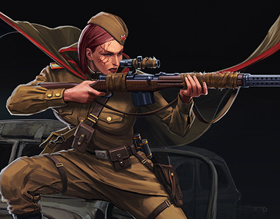 Lyudmila, sniper concept/ Reichbusters by Mythic Games