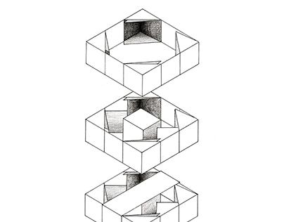 Paper Cube Diagram [Axonometric Drawing]