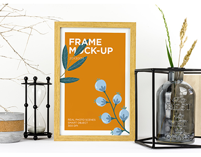 Natural Wood Picture Frame Mockup
