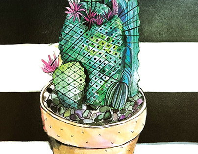 WATERCOLOR CACTUS AND SUCCULENT ILLUSTRATION FLORAL