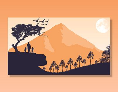flat vector landscape illustration