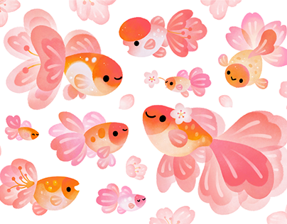 Cherry blossom Goldfish galaxy THEME & sticker