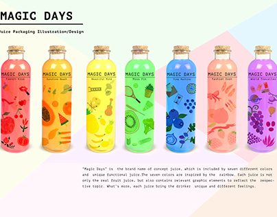 Magic days: Juice packaging illustration/design