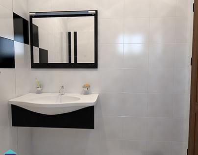 White Tiles Bath Room Design (20180209)