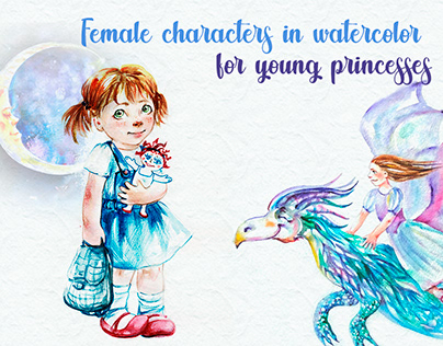 Female characters in watercolor