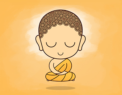 Cute Child Buddha in Levitation Meditation