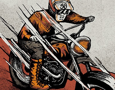 Illustration | Vintage Motorcycle & Sock Design