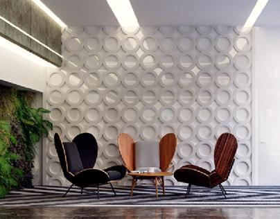 Business center lobby interior