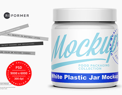 White Plastic Jar Mockup