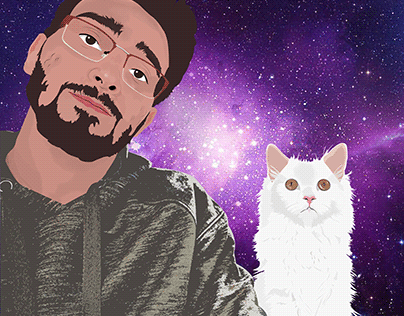 Vector Portrait With A Cat