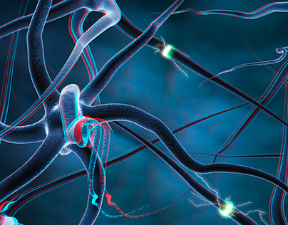 Nerve Cells - Anaglyph illustration