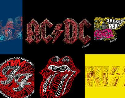 Revisiones de bandas rock, con lettering