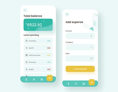 Expense calculator mobile app design