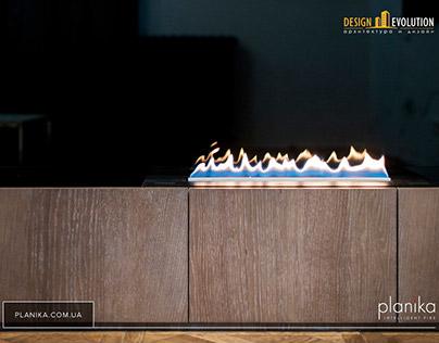 Встроенный биокамин Planika Primefire в мебель