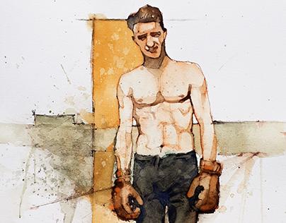 watercolor boxeur