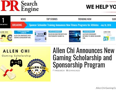 Allen Chi Announces Gaming Scholarships & Sponsorships
