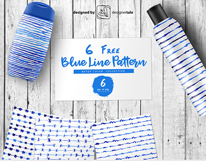 Blue hand drawn free water color line pattern eps templ