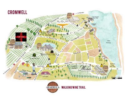 Map, Logo & Brochure. vineyard trial tour. New Zealand