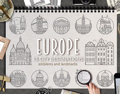 Europe City Destinations Emblems and Landmarks.