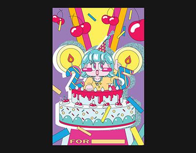 Cherry and Cake - Birthday card 체리와 케이크 생일 카드