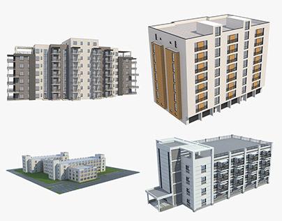 4 Apartment Buildings Set_8