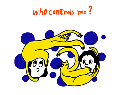 """Illustration titled """"Who controls me?"""" Made of posters"""