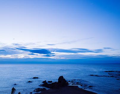 Landscape: The coast of the Japan Sea at DUSK.
