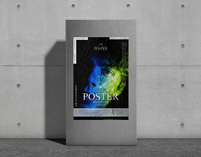 Glued Paper Poster on Pillar Mockup Free