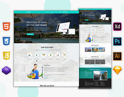 Landing page UI Design for Property management CRM Soft