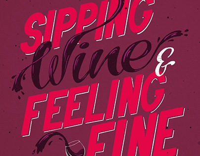 Sipping Wine - Hand Drawn Type