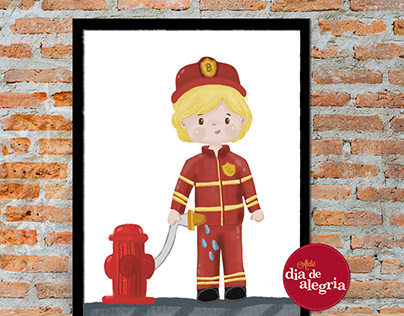 Firefighter boy custom illustration