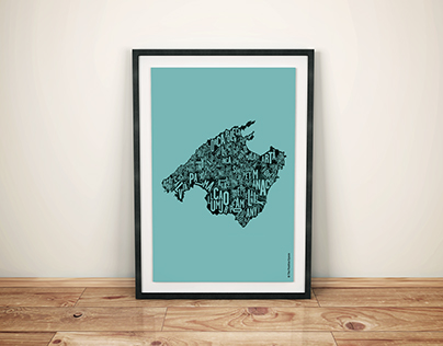 Mallorca typographic map (screenprint limited edition)