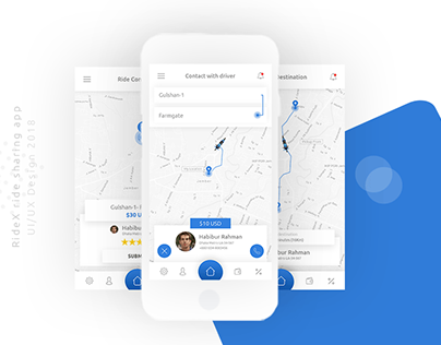 RideX - Ride Sharing Mobile App Concept Design