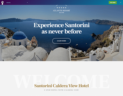 landing page website for Hotel landing page