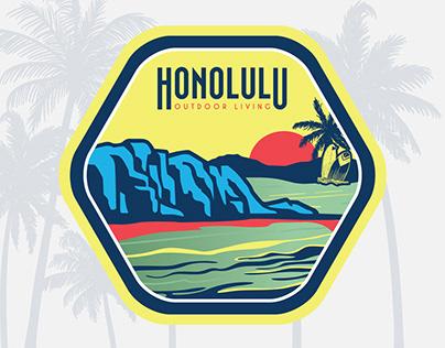 "Badge illustration is for ""Honolulu"" - Hawaii"