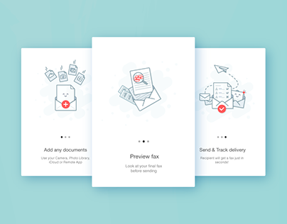 WalkThrough illustrations for Fax app