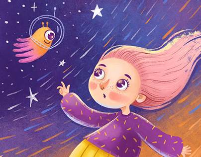 Girl in space (illustration)