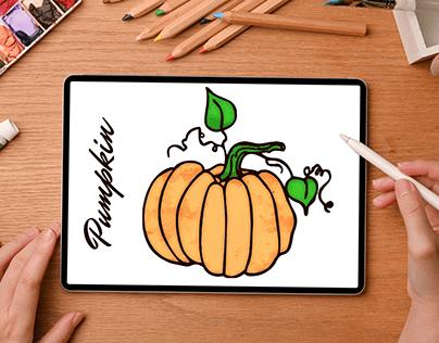 Watercolor Pumpkin Vector Design