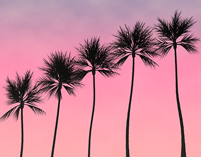 Realistic But Fully Generated Palm Tree Scene
