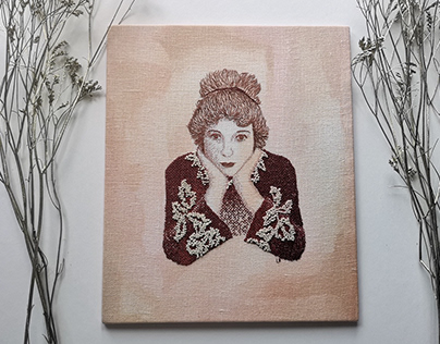 Portrait of Gretchen Hartman / Hand Embroidery