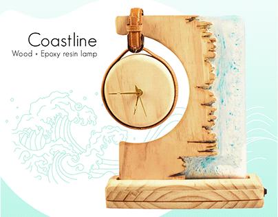 Coastline - Wood + Epoxy resin lamp