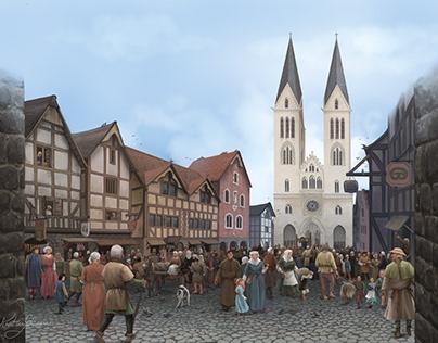 Medieval Town Scene