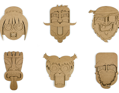 8 cardboard masks