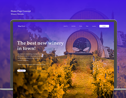 Home Page concept for a winery website