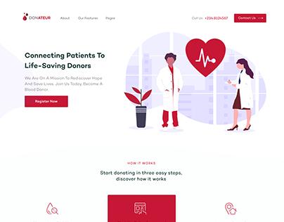 Donateur - Blood donation website landing page design.