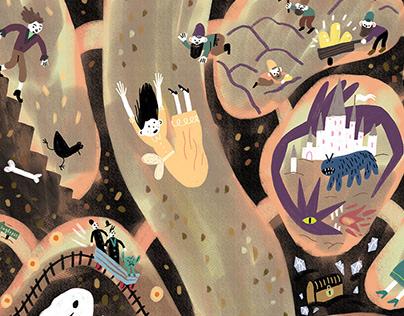 Fiction characters calendar illustrations for Labirint