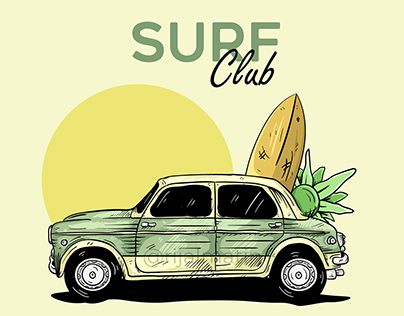 Surf Club | Vintage Car Illustration