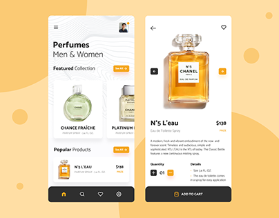 Perfumes shop UI design