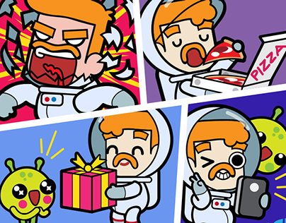 Link app Astronaut 32 stickers set